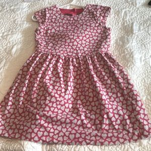 Red and white dress with heart shaped cut-out